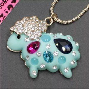 Betsey Johnson gem crystal blue sheep necklace